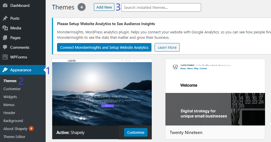 Add new theme section WordPress via WPSack