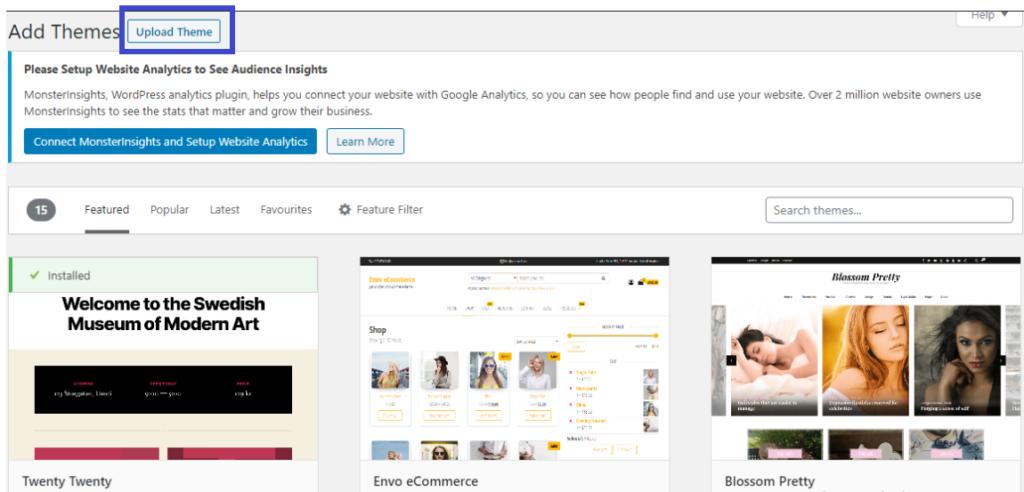 Uploading new theme on WordPress