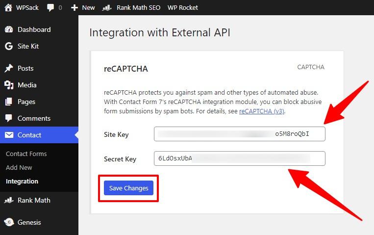 Site and Secret key of reCAPTCHA registration