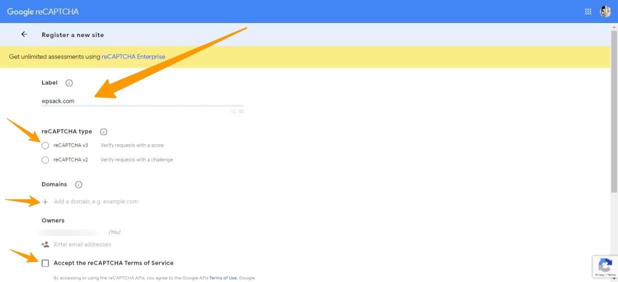 Adding a website to reCAPTCHA page